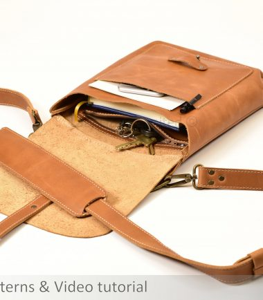 open cross body bag made from light brown leather
