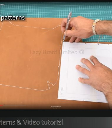 tracing bag patterns onto a piece of leather