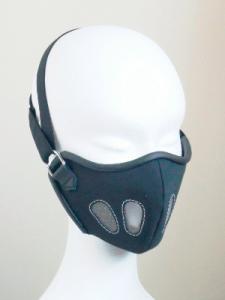 black leather face mask displayed on a model